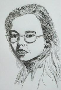Meisjesportret in inkt