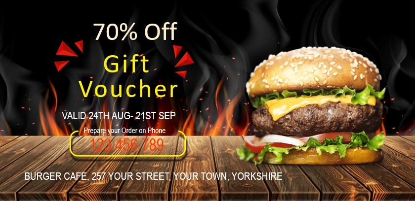 Printed vouchers & coupons for burger restaurants