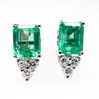 Exceptional Emerald Earrings | Pink Diamond Earrings