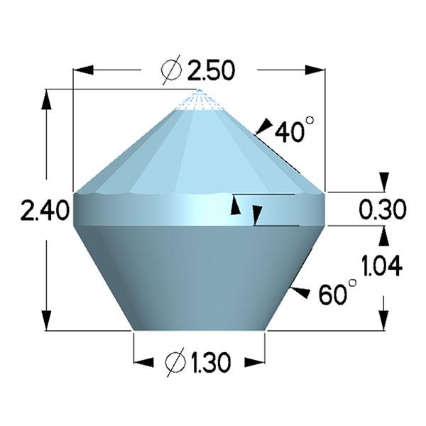 Type 1a; Boehler Almax Design; X=2.50mm, 30deg
