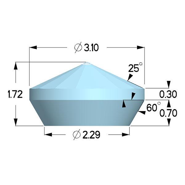 Type 1a; Boehler Almax Design; X=3.10mm, 70deg