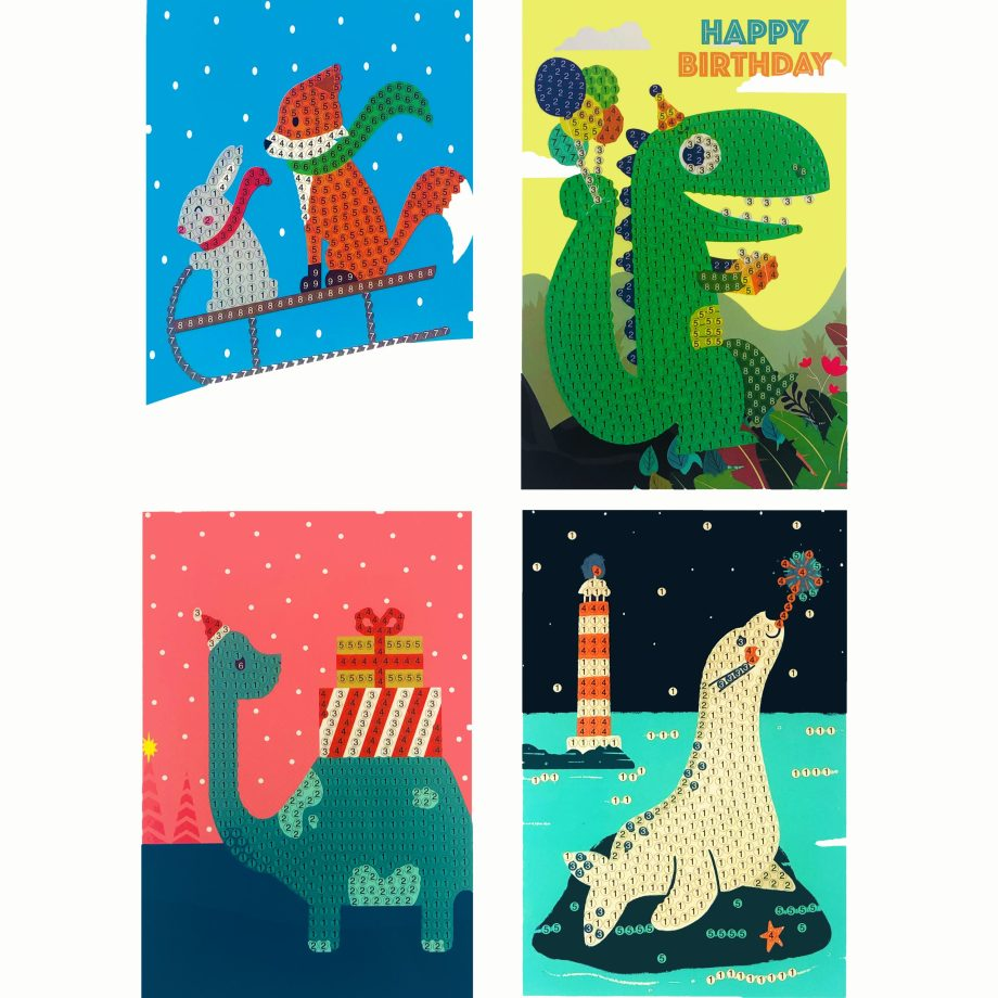 Diamond Painting birthday invites. Seal on a rock, a brontosaurus dinosaur with present, fox with rabbit and sled and crocodile with balloons
