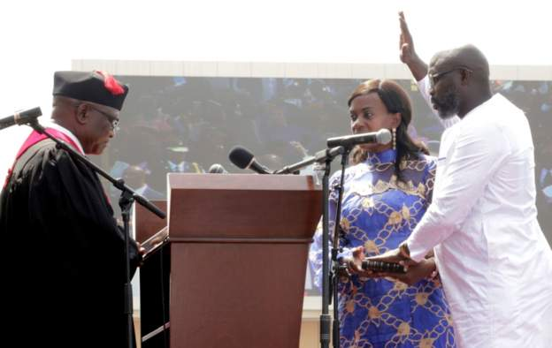 GEORGE OPPONG WEAH HAS BEEN SWORN IN AS LIBERIA'S PRESIDENT