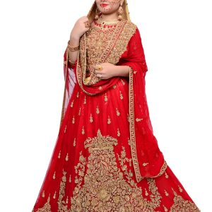Heavy Embroidery Red Bridal Lehenga