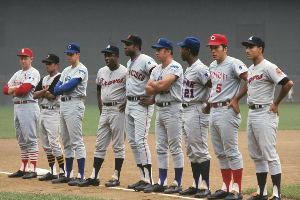 1969-0723-Red-Schoendienst-Matty-Alou-Don-Kessinger-Hank-Aaron-Willie-McCovey-Ron-Santo-Cleon-Jones-Johnny-Bench-Felix-Millan-NLC_03966
