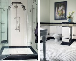 Classic combinations of black and white finishes are used here to create a bold Art Deco inspired bathroom. The geometric lines throughout the space further enhance the inspired design.