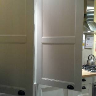 French door pantries should always open from the center outwards.