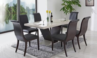 enchanting-black-curvy-wooden-chairs-and-grey-rug-carpet-also-simple-white-modern-dining-table