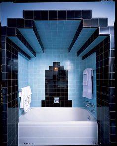 Powder blue Art Deco styled Bathroom