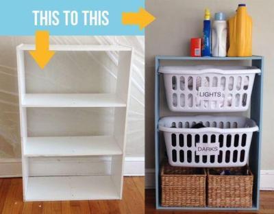 diy furniture hacks - laundry storage