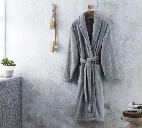 grey bathrobe