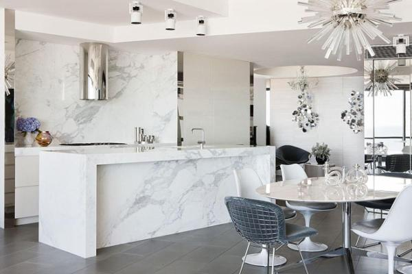 white kitchen - marble benchtop