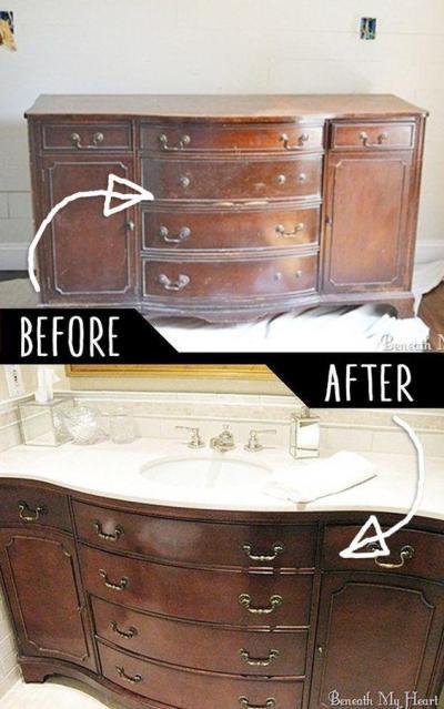 diy furniture hacks - bathroom vanity