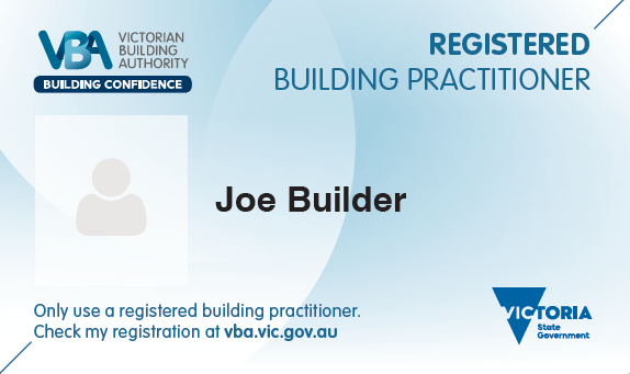 Victorian Builders License example