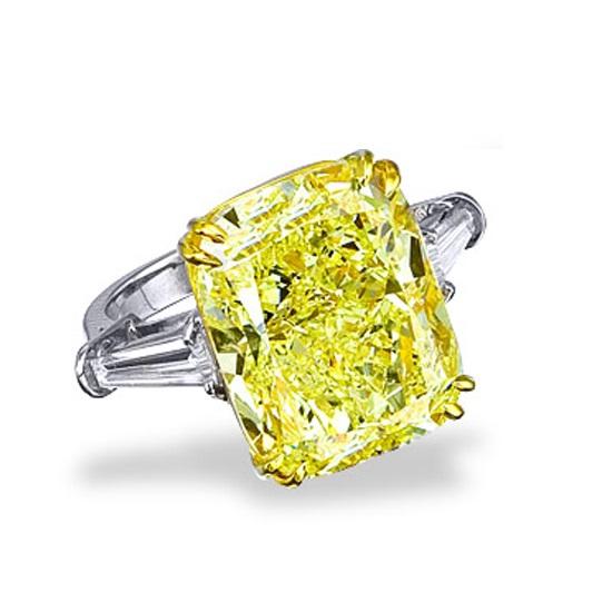 Fancy Yellow Cushion Cut Cz Diamond Engagement Ring