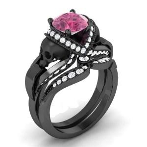 Pink & White Diamond Black Skull Ring (Copy)