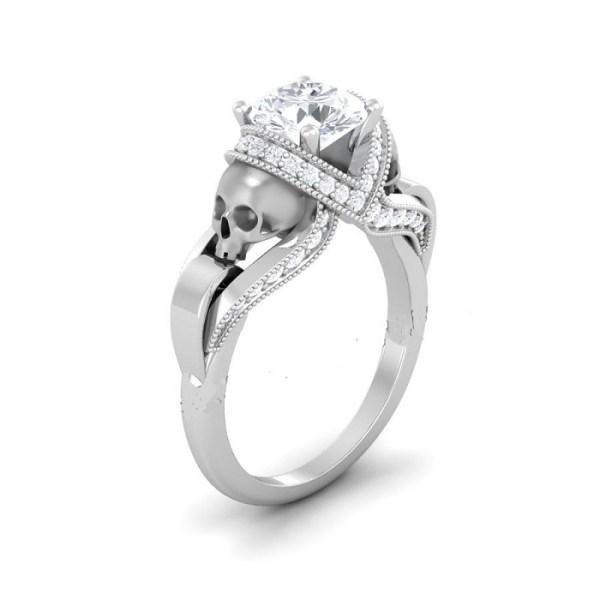 White diamond silver skull ring