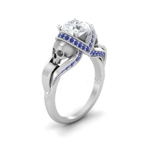 White diamond silver skull ring