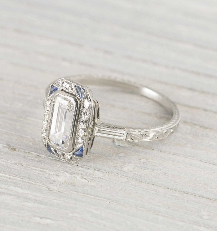 emerald cut diamond art deco engagement wedding ring - Art Deco Wedding Rings