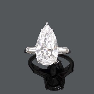 6 Carat Pear Cut Diamond Engagement Ring
