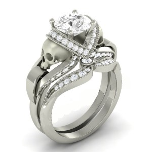 White Diamond Skull Ring