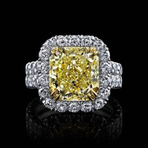 7Ct Canary Radiant Cut CZ Diamond Ring