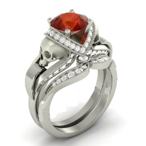 Red Ruby Rounded Diamond Skull Ring