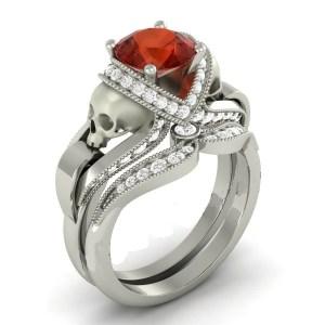 Red Ruby Rounded Diamond Skull Ring