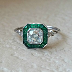 Art Deco Diamond & Emerald Ring