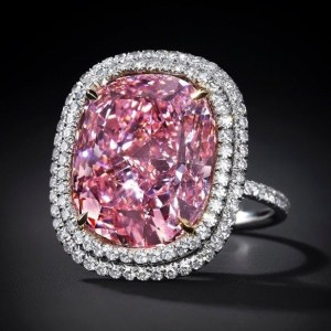 Pink Cushion Cut Big Cz Cocktail Ring