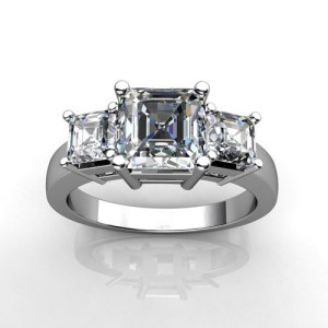 Sterling Silver Asscher Cut Diamond Three Stone Wedding Engagement Ring