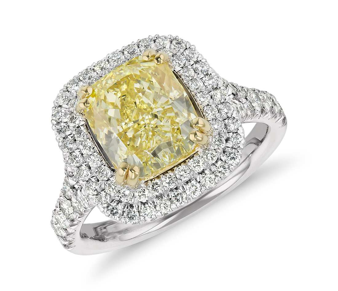 diamond yellow engagement canary ring rings