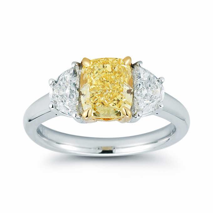 5 30 Ctw Cushion Cut Fancy Yellow Diamond 3 Stone Wedding Engagement Ring
