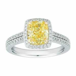 Cushion Cut Yellow Diamond Halo Engagement Ring