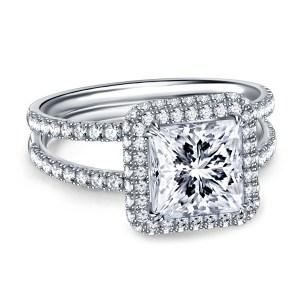 White Princess Cut Diamond Micro Pave ENGAGEMENT RING