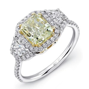 Fancy Yellow Cushion Cut Wedding Engagement Ring