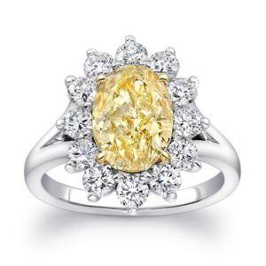 Fancy Yellow Oval Cut Diamond Halo Engagement Ring 4.68 Ctw