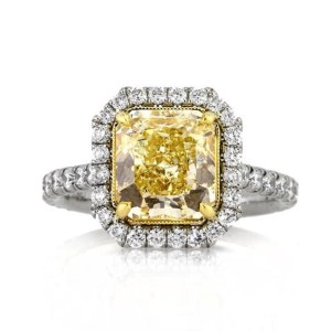 Radiant Cut Fancy Yellow Engagement Ring 4.50Ctw