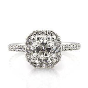 White Radiant Cut Diamond Engagement Ring 4.65Ctw