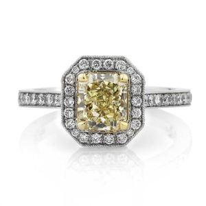 Yellow Radiant Diamond Halo Micro Pave Engagement Ring