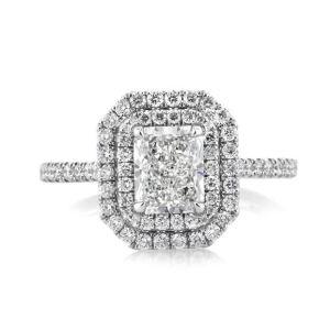 Radiant Diamond Halo Micro Pave Engagement Ring 3.28Ctw