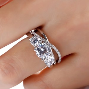 3Stone 2.75CT Round Cut Diamond Engagement Ring Set 925 Sterling Silver (Copy)