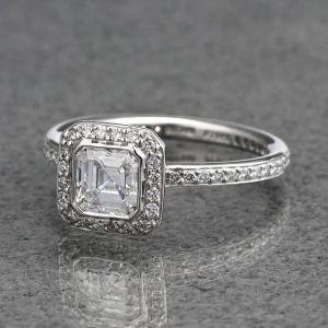 Bezel Asscher Cut Diamond Engagement Ring 925 Sterling Silver 2.33CT