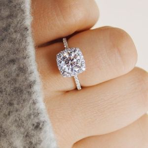 2.30CT Cushion Shape Halo Diamond Fancy Engagement Ring 925 Sterling Silver