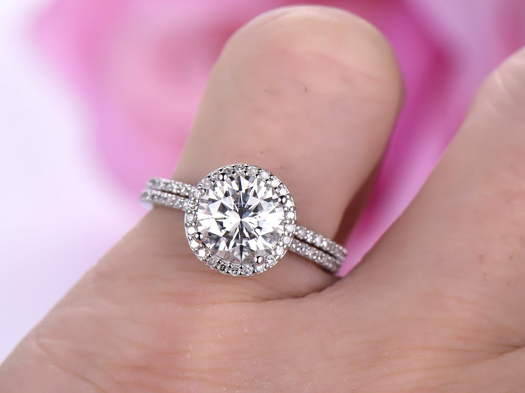 1.50Ct Round Cut Off White Moissanite Engagement Band Ring Set 925 ...