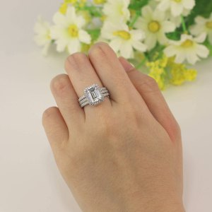 Emerald Cut Halo Engagement Wedding Band Ring Sets 925 Sterling Silver