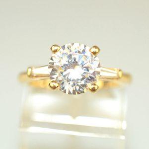 2.Ct Round White Moissanite & Side Stone Engagement Wedding Ring 14k Yellow Gold