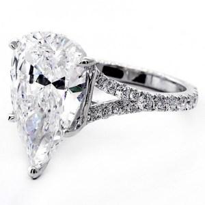 2.78Ct Fancy Pear Cut Diamond Split Shank Engagement Wedding Ring 925 Sterling Silver