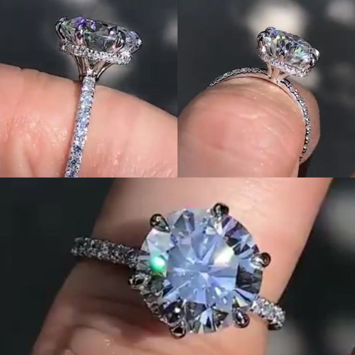 2.50Ct Brilliant Cut Real Moissanite Solitaire Engagement Ring Solid ...