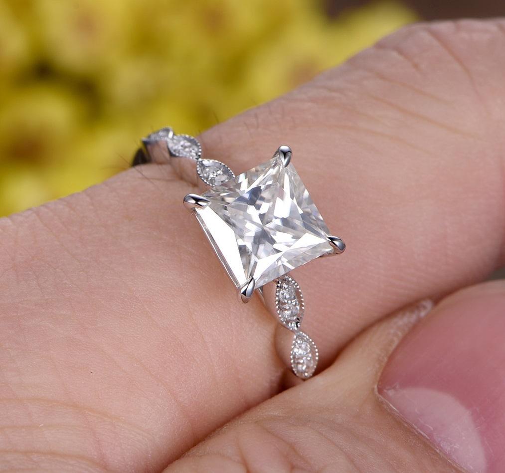 1.78Ct Princess Cut Real Moissanite Art Deco Solitaire Engagement ...